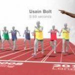 オリンピック100m走の歴代金メダリストを横並びで比較した動画
