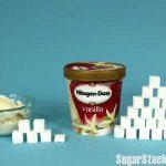 ハーゲンダッツ製品にどれだけ砂糖が入っているのか、角砂糖であらわした写真