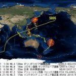 世界の地震 発生地点・規模・時刻分布図