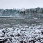 氷河の河口で発生した大波