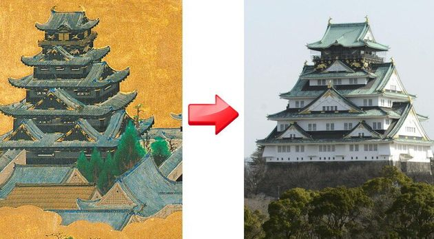 「大坂夏の陣図屏風」に描かれた豊臣期の天守閣(左)と、現在の大阪城天守閣